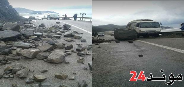 توقف حركة السير بالطريق الوطنية الرابطة تطوان والحسيمة بسبب إنهيار صخري