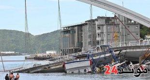 تايوان: شاهد بالفيديو لحظة انهيار جسر وسقوط شاحنة على قوارب
